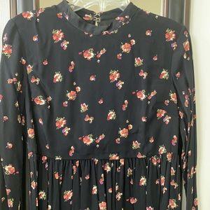 ASOS Petite Black Floral Corset Tie Back Dress